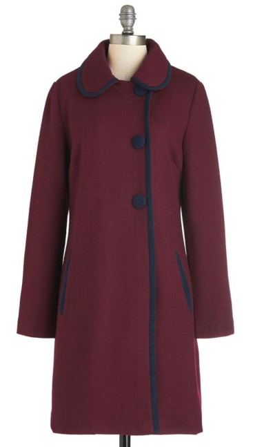 b6798319763281 ... but still with a dash of flair and you're willing to bend on the colour  a bit, check out this wine-coloured coat with the navy piping and buttons …
